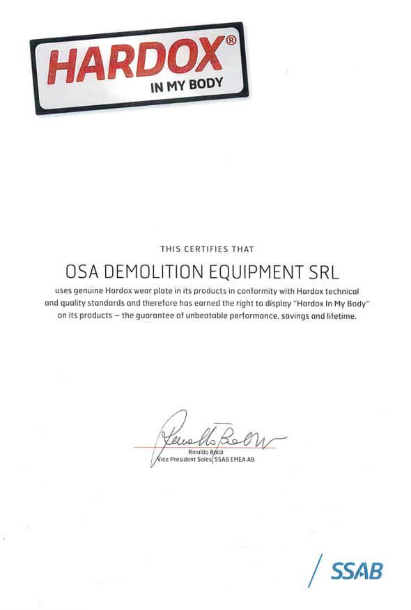 Certificado Hardhox OSA